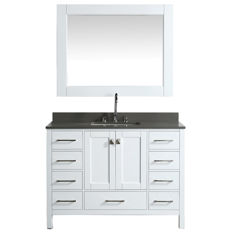 "Design Element London Hyde 48"" Single Sink Vanity - White DEC082C-W-GT"