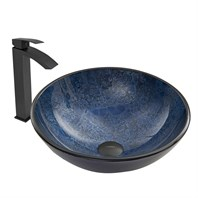 VIGO Indigo Eclipse Glass Vessel Sink and Duris Faucet Set in Matte Black Finish VGT620