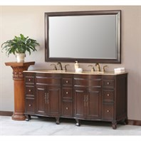 "Virtu USA Cathy 72"" Double Sink Bathroom Vanity - Antique Walnut LD-1015"