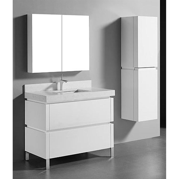 "Madeli Metro 42"" Bathroom Vanity for Quartzstone Top - Glossy White B600-42-001-GW-QUARTZ"
