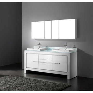 """Madeli Vicenza 72"""" Double Bathroom Vanity, Glossy White B999-72D-001-GW by Madeli"""
