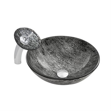 Vigo Titanium Glass Vessel Sink and Waterfall Faucet Set VGT039 by Vigo Industries