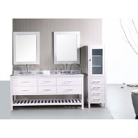 "Design Element London 72"" Double Bathroom Vanity with Open Bottom - Pearl White DEC077B-W-CB-72"
