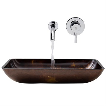 Vigo Rectangular Brown and Gold Fusion Glass Vessel Sink and Wall Mount Faucet Set VGT278- by Vigo Industries