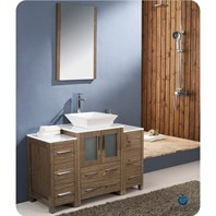 "Fresca Torino 48"" Walnut Brown Modern Bathroom Vanity with 2 Side Cabinets & Vessel Sink FVN62-122412WB-VSL"