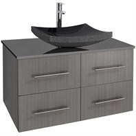 "Bianca 36"" Wall-Mounted Modern Bathroom Vanity - Gray Oak with Black Granite Counter WHE007-36-GROAK-BLK"