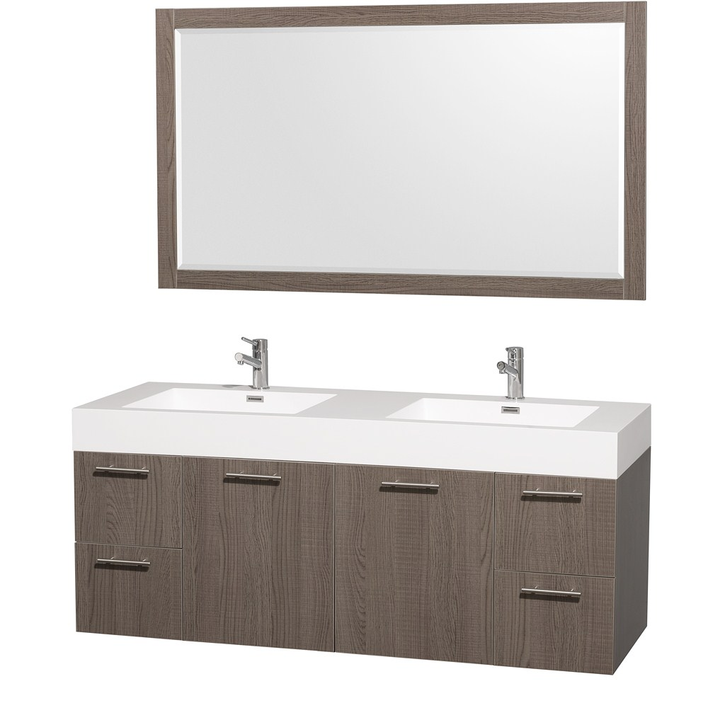 "Amare 60"" Double Bathroom Vanity in Gray Oak, Acrylic Resin Countertop, Integrated Sinks, and 58"" Mirror WCR410060GOARDB"