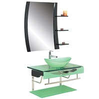"Versa 36"" Bathroom Vanity with Glass Countertop & ZHJ48 Mirror - Seafoam"