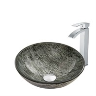 VIGO Titanium Glass Vessel Sink and Duris Faucet Set in Chrome VGT826
