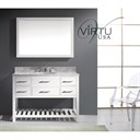 "Virtu USA 48"" Caroline Estate Single Bathroom Vanity Set with Italian Carrara White Marble Countertop - White MS-2248-"