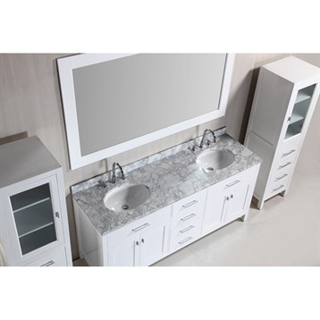 Design Element London 72 Double Vanity Set With 2 Linen Cabinets Whit
