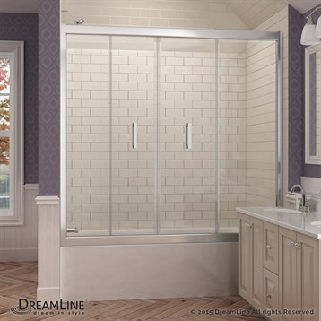 "Bath Authority DreamLine Butterfly Bi-Fold Tub Door, 58"", 58-3/4"", Chrome Finish Hardware SHDR-4558581-01 by Bath Authority DreamLine"