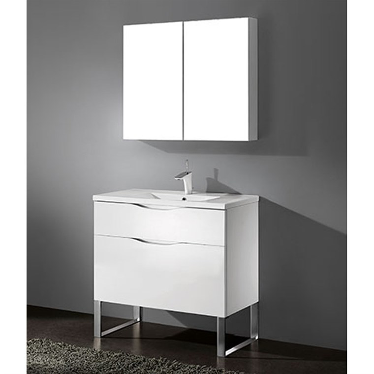 "Madeli Milano 36"" Bathroom Vanity for Integrated Basin - Glossy White B200-36-021-GW"