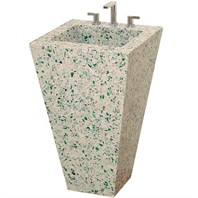 Eclipse Custom Bathroom Pedestal Vanity by Wyndham Collection - Bistro Green Vetrazzo®