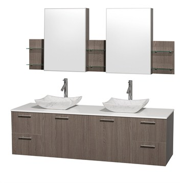 """Amare 72"""" Wall-Mounted Double Bathroom Vanity Set with Vessel Sinks by Wyndham Collection, Gray Oak... by Wyndham Collection®"""