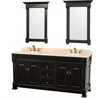 "Andover 72"" Traditional Bathroom Double Vanity Set by Wyndham Collection - Black WC-TD72-BLK"