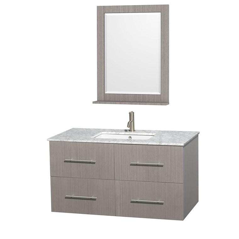 "Centra 42"" Single Bathroom Vanity for Undermount Sinks by Wyndham Collection - Gray Oak WC-WHE009-42-SGL-VAN-GRO-"