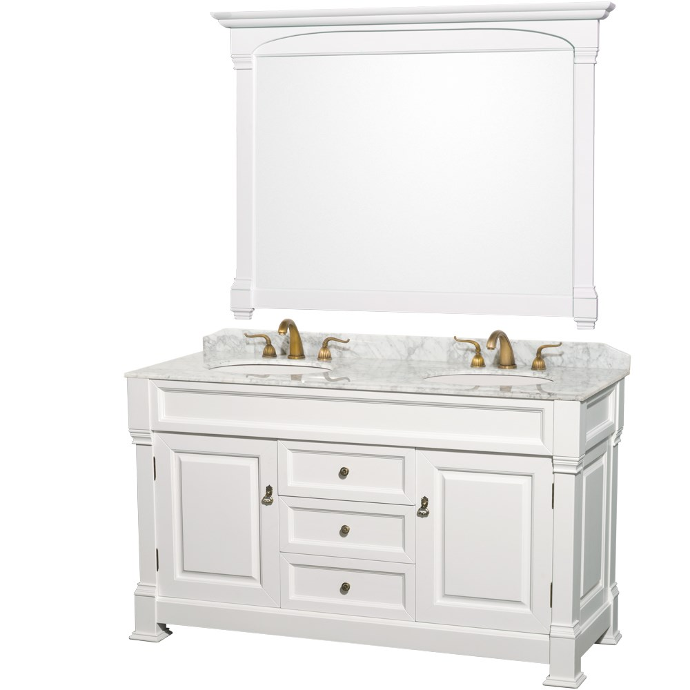"""Andover 60"""" Traditional Bathroom Double Vanity Set by Wyndham Collection - Whitenohtin Sale $1699.00 SKU: WC-TD60-WHT :"""