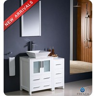 "Fresca Torino 36"" White Modern Bathroom Vanity with Side Cabinet, Vessel Sink, and Mirror FVN62-2412WH-VSL"