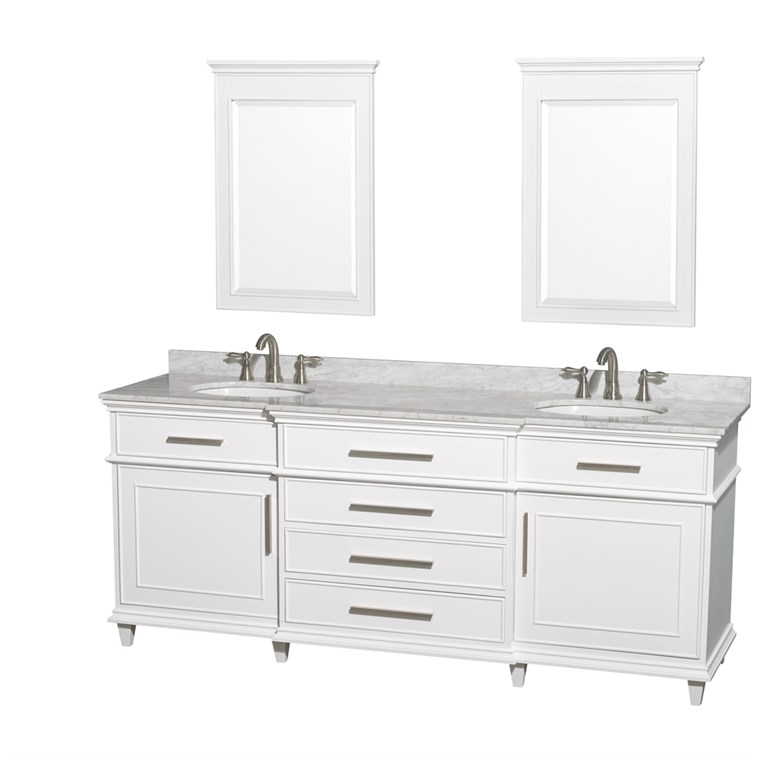"Berkeley 80"" Double Bathroom Vanity by Wyndham Collection - White WC-1717-80-DBL-WHT"