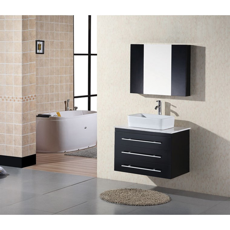 "Design Element Portland 30"" Wall Mount Bathroom Vanity - Espresso DEC071D"