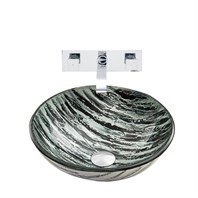 VIGO Rising Moon Glass Vessel Sink and Titus Wall Mount Faucet Set in Chrome VGT834