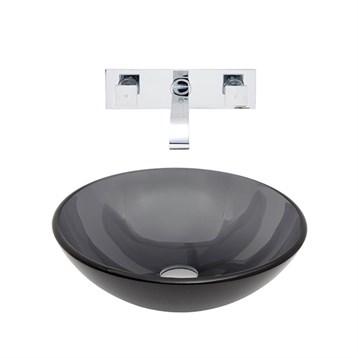 Vigo Sheer Black Glass Vessel Sink and Wall Mount Faucet Set VGT261- by Vigo Industries