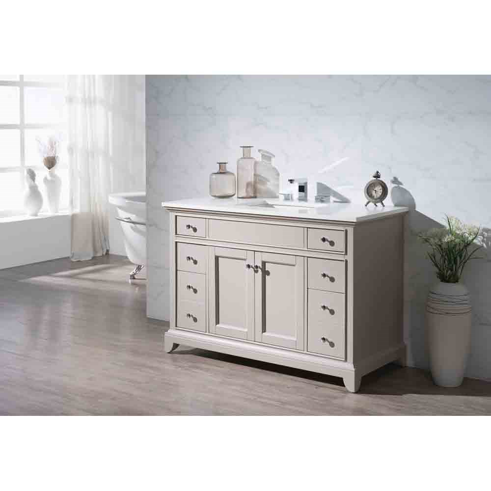 "Stufurhome Arianny 49"" Single Sink Bathroom Vanity with White Quartz Top - Taupe 