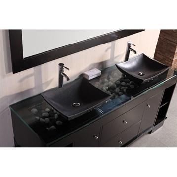 Design element oasis 72 double sink vanity set with for Design element marcos solid wood double sink bathroom vanity