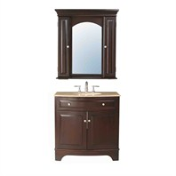 "Stufurhome 36"" Amanda Single Sink Vanity with Travertine Marble Top and Mirror - Cherry GM-6121-36-TR"