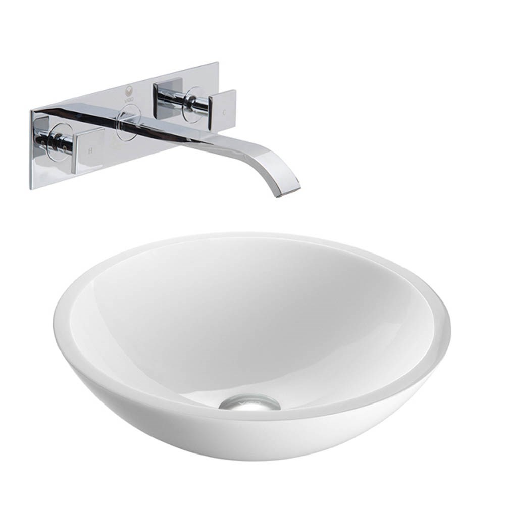 VIGO Flat Edged White Phoenix Stone Vessel Sink with Titus Wall Mount Faucetnohtin Sale $245.90 SKU: VGT227- :