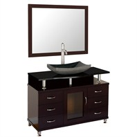 "Accara 42"" Bathroom Vanity with Drawers - Espresso w/ Black Granite Counter B706D-42-ESP-BLK"