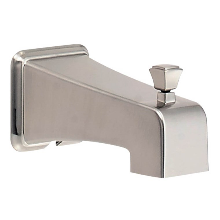 Danze Logan Square & Reef Wall Mount Tub Spout with Diverter - Brushed Nickel DA523415BN