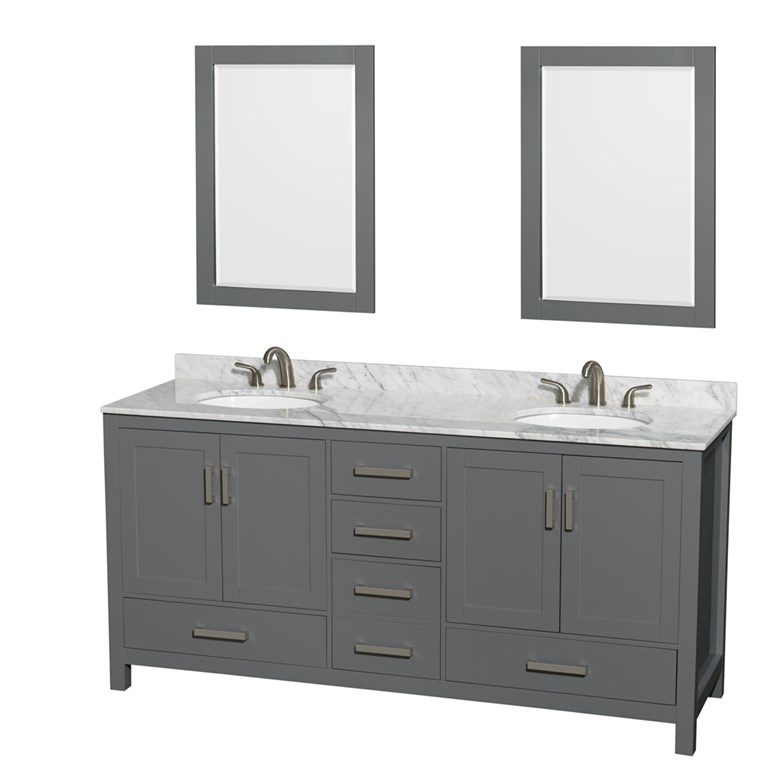 "Sheffield 72"" Double Bathroom Vanity by Wyndham Collection - Dark Gray WC-1414-72-DBL-VAN-DKG"
