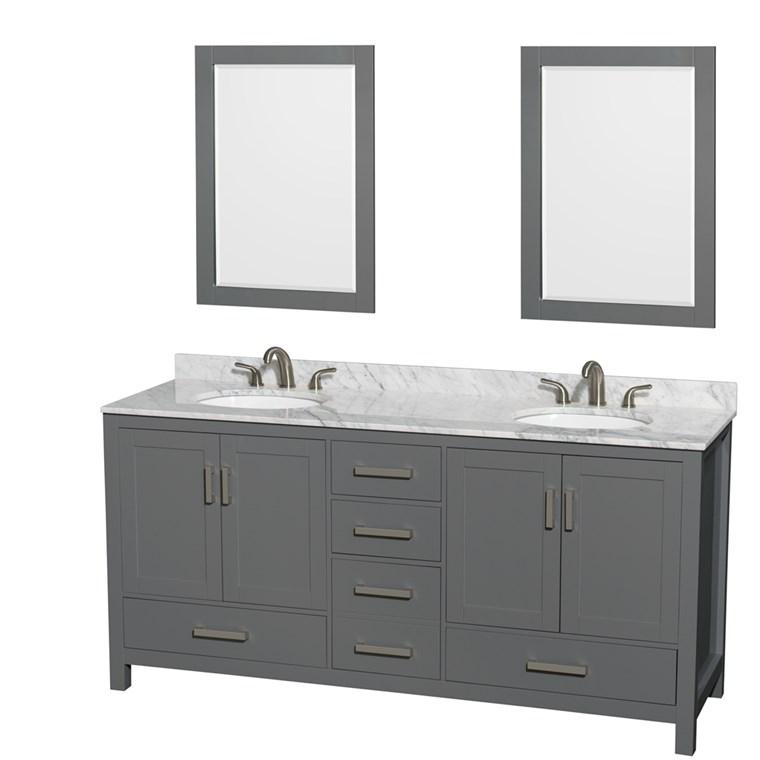 Sheffield 72u0026quot; Double Bathroom Vanity By Wyndham Collection   Dark Gray  WC 1414