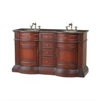 "Stufurhome 62"" Catherine Double Sink Vanity with Baltic Brown Granite Top - Rich Cherry GM-3211-62-BB"