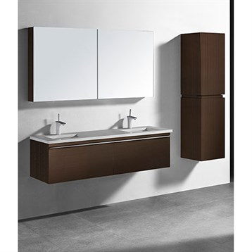 "Madeli Venasca 60"" Double Bathroom Vanity for Quartzstone Top, Walnut B990-60D-002-WA-QUARTZ by Madeli"