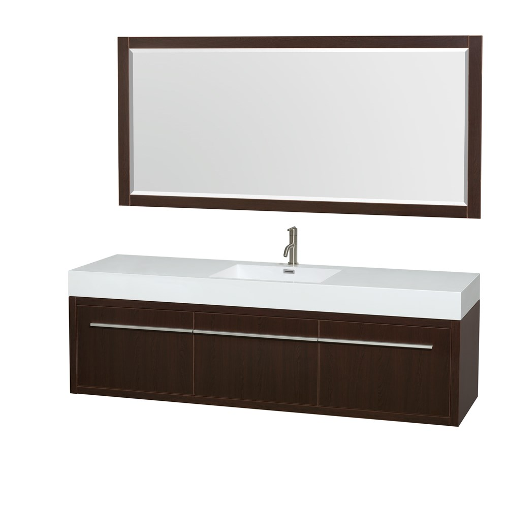 "Axa 72"" Single Bathroom Vanity in Espresso, Acrylic Resin Countertop, Integrated Sink, and 70"" Mirror WCR430072SESARINTM70"