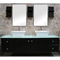 "Design Element Portland 61"" Double Sink Vanity Set - Espresso DEC071A"