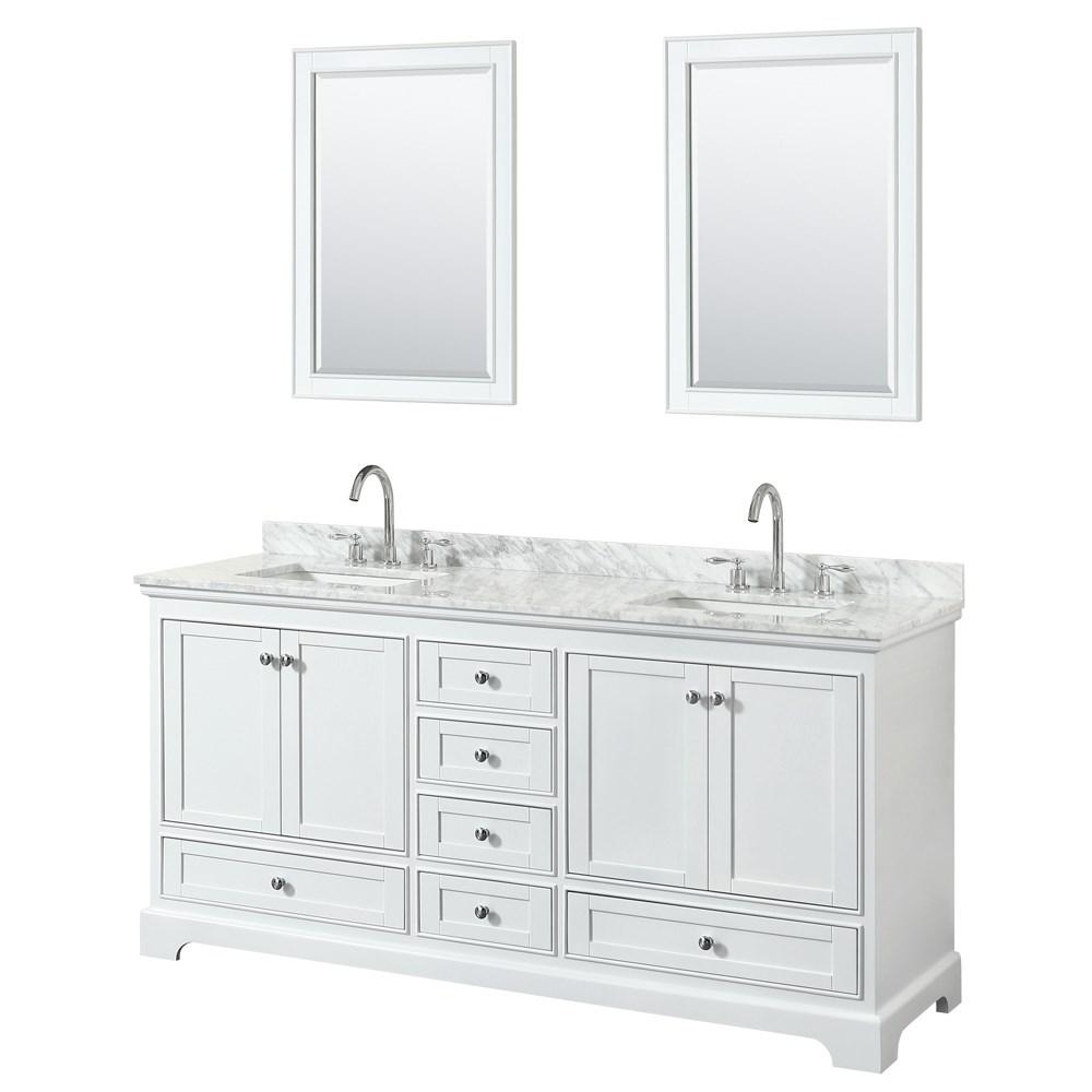 "Deborah 72"" Double Bathroom Vanity by Wyndham Collection - White | Free Shipping - Modern Bathroom"