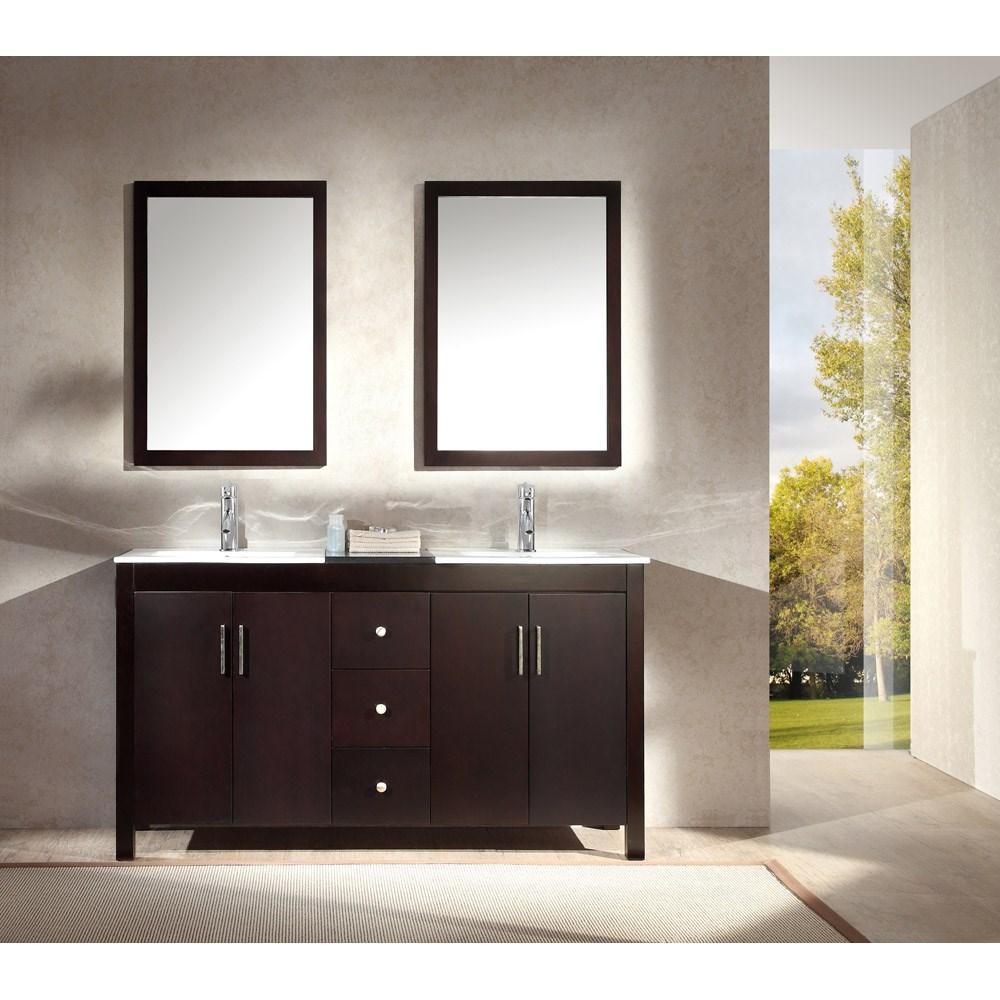 "Ariel Hanson 60"" Double Sink Vanity Set with Black Granite Countertop - Espressonohtin Sale $1479.00 SKU: K060D-ESP :"