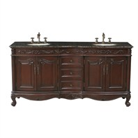 "Stufurhome 72"" Saturn Double Sink Vanity with Baltic Brown Granite Top - Dark Cherry GM-3323-72-BB"