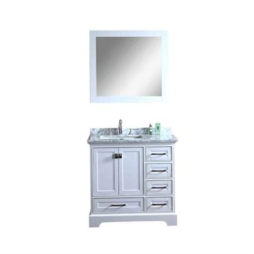 "Stufurhome Newport White 36"" Single Sink Bathroom Vanity with Mirror, White HD-7130W-36-CR by Stufurhome"