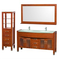 "Daytona 60"" Double Bathroom Vanity Set by Wyndham Collection - Cherry WC-A-W2200-60-CH-SET"
