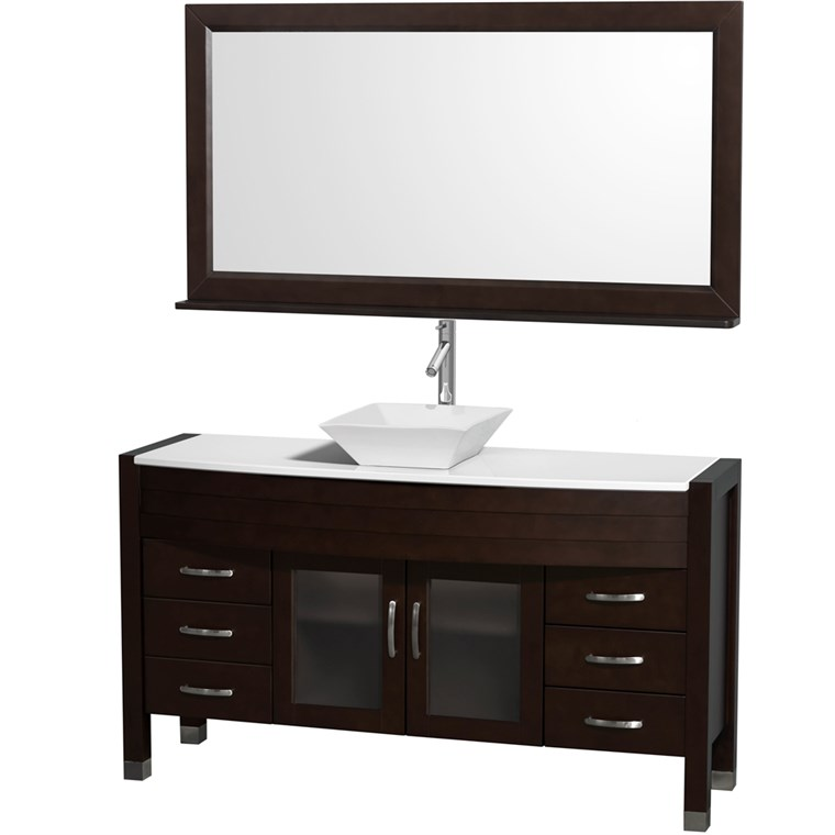 "Daytona 60"" Bathroom Vanity with Vessel Sink and Mirror by Wyndham Collection - Espresso WC-A-W2109-60-T-ESP-"