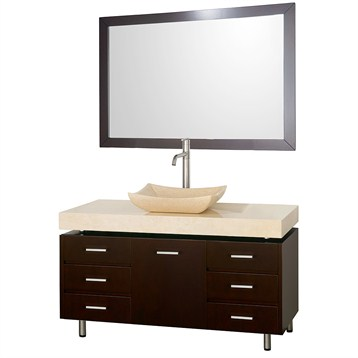 "Malibu 48"" Bathroom Vanity Set by Wyndham Collection, Espresso Finish with Ivory Marble Counter and Handles... by Wyndham Collection®"