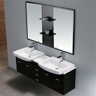 Vigo 59-inch Double Bathroom Vanity with Mirrors and Shelves - Wenge VG09001104K