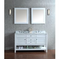 "Seacliff by Ariel Mayfield 60"" Double Sink Vanity Set with Carrera White Marble Countertop - White SCMAY60SWH"