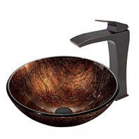 VIGO Kenyan Twilight Glass Vessel Sink and Blackstonian Faucet Set in Antique Rubbed Bronze Finish VGT399