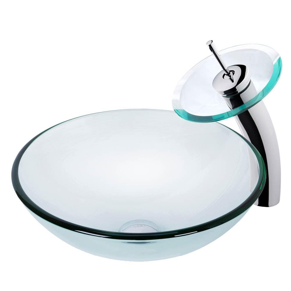 VIGO Crystalline Glass Vessel Sink and Waterfall Faucet Setnohtin Sale $199.90 SKU: VGT059- :